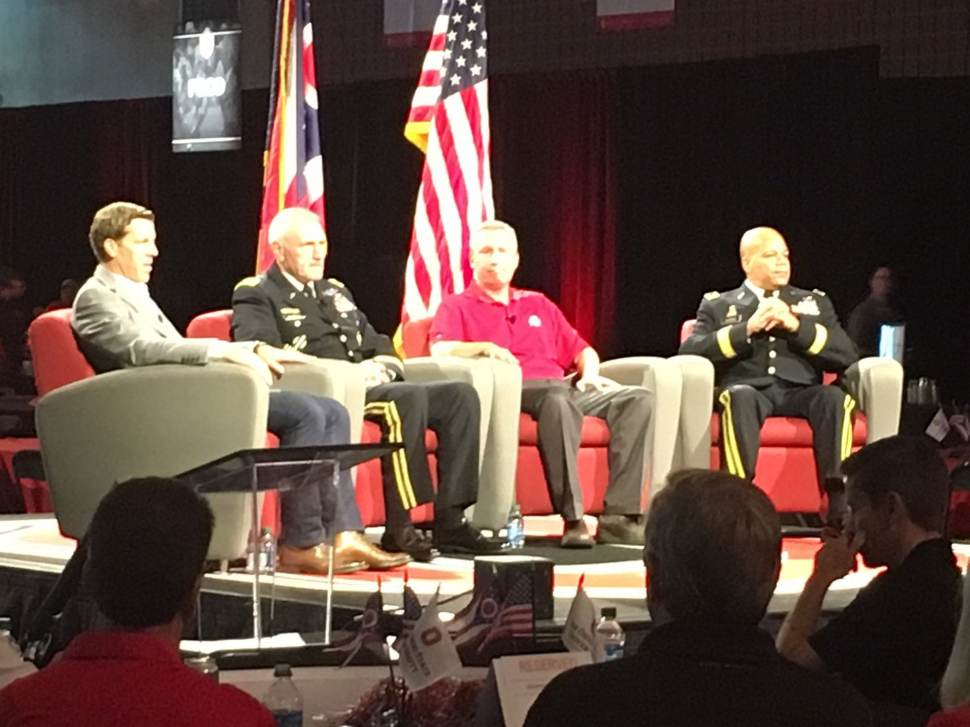 Lt. Gen. Murray (second from left) discusses Ohio State's importance to the Army