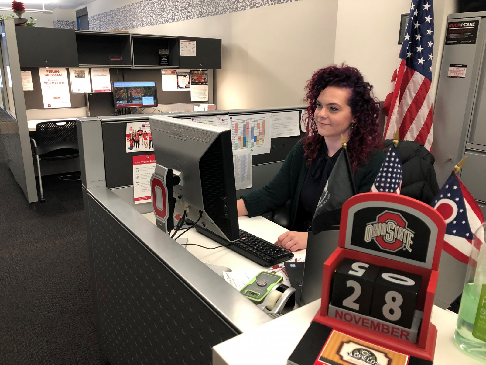 Hannah Rodas, a Peer to Peer sponsor at Ohio State, works at the Office of Military and Veterans Services