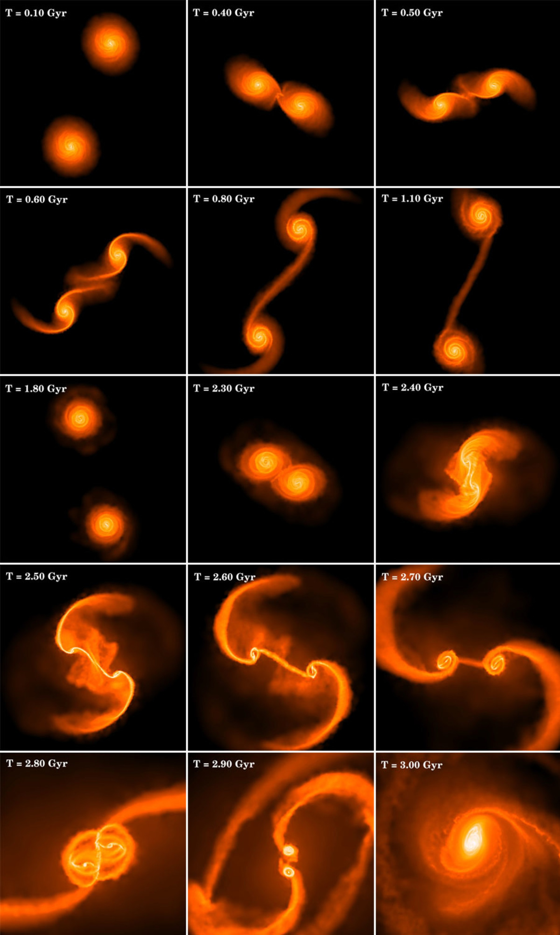 The panel illustrates the complexity of dynamical evolution in a typical collision between two equal-mass disk galaxies. The simulation follows dark matter, stars, gas, and supermassive black holes, but only the gas component is visualized. Brighter colors indicate regions of higher gas density and the time corresponding to each snapshot is given by the labels.  The first 10 panel images measure 100 kpc on a side, roughly five times the diameter of the visible part of the Milky Way galaxy. The next five panels represent successive zooms on the central region. The final frame shows the inner 300 pc of the nuclear region at the end of the simulation.  On two accompanying videos -- here and here -- during the interaction, violent tidal forces tear the galactic disks apart, generating spectacular tidal tails, plumes and prominent bridges of material connecting the two galaxies. The ultimate outcome of a series of increasingly close encounters is the inevitable merger of the disk galaxies into a single structure and the formation of a nuclear disk as shown in the last panel.  The simulated nuclear disks have masses of approximately a billion solar masses and exhibit prominent non-axisymmetric features known to produce strong gas inflows. The gas inflows are likely responsible for fueling the central black hole, but even higher resolution will be needed to study this process in detail.  Nevertheless, the simulations carried out by Kazantzidis and his collaborators provide the first direct evidence that gas originally in galaxies separated by hundreds of kiloparsecs is collected to sub-parsec scales simply as a result of the dynamics and hydrodynamics involved in the merger process.
