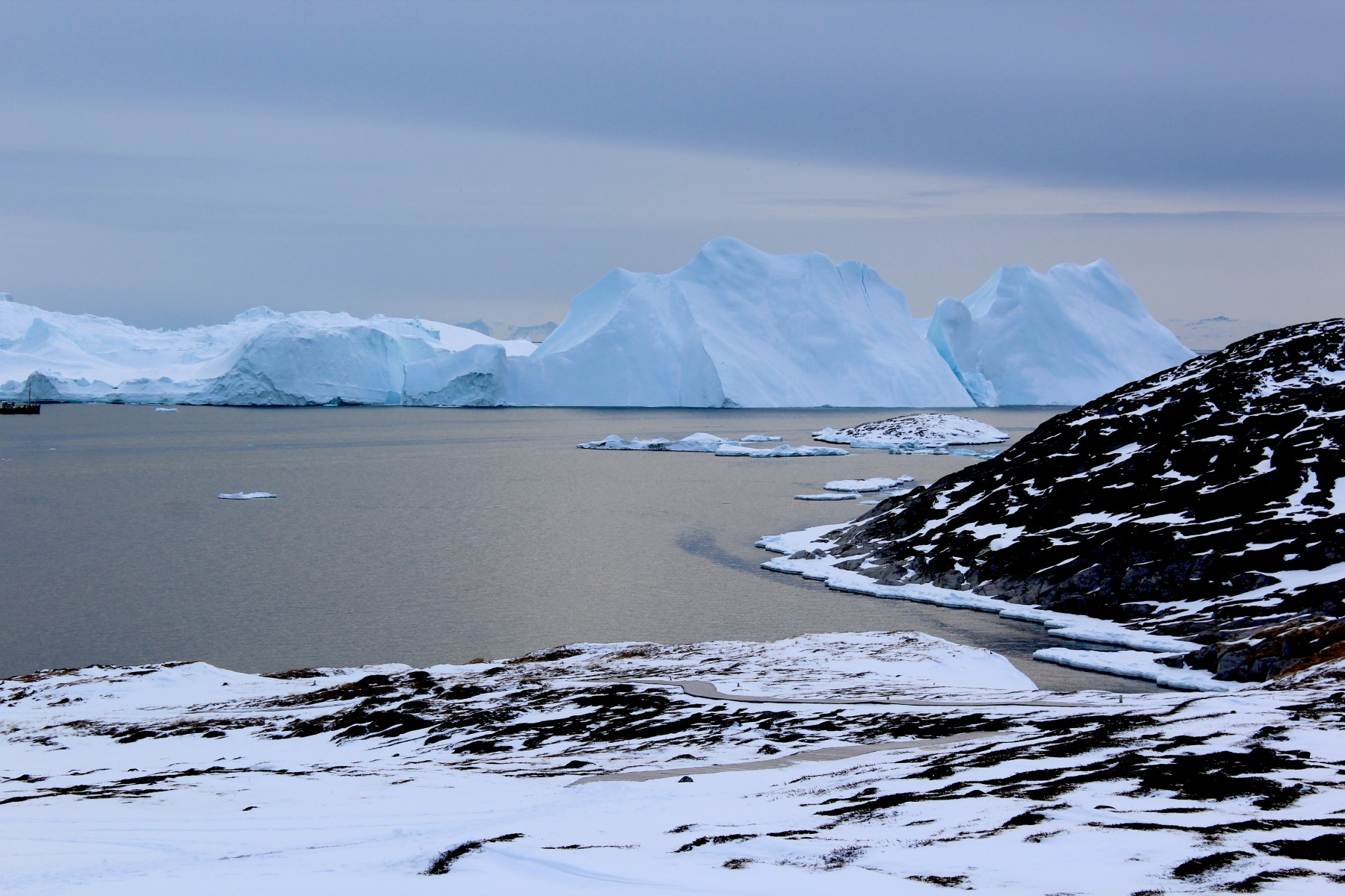 Icebergs near Greenland form from ice that has broken off--or calved--from glaciers on the island. A new study shows that the glaciers are losing ice rapidly enough that, even if global warming were to stop, Greenland's glaciers would continue to shrink.