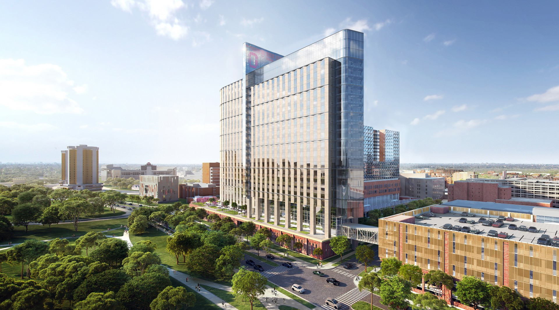 Rendering of the new inpatient hospital at The Ohio State University Wexner Medical Center