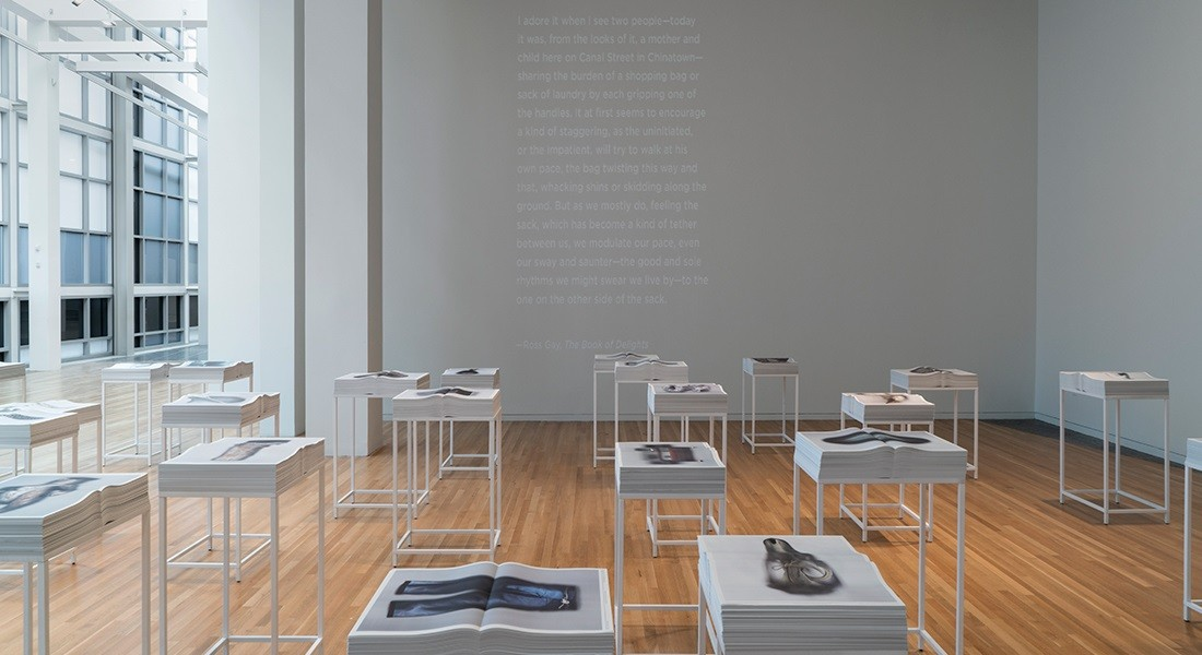 Installation view of Ann Hamilton's when an object reaches for your hand at the Wexner Center for the Arts