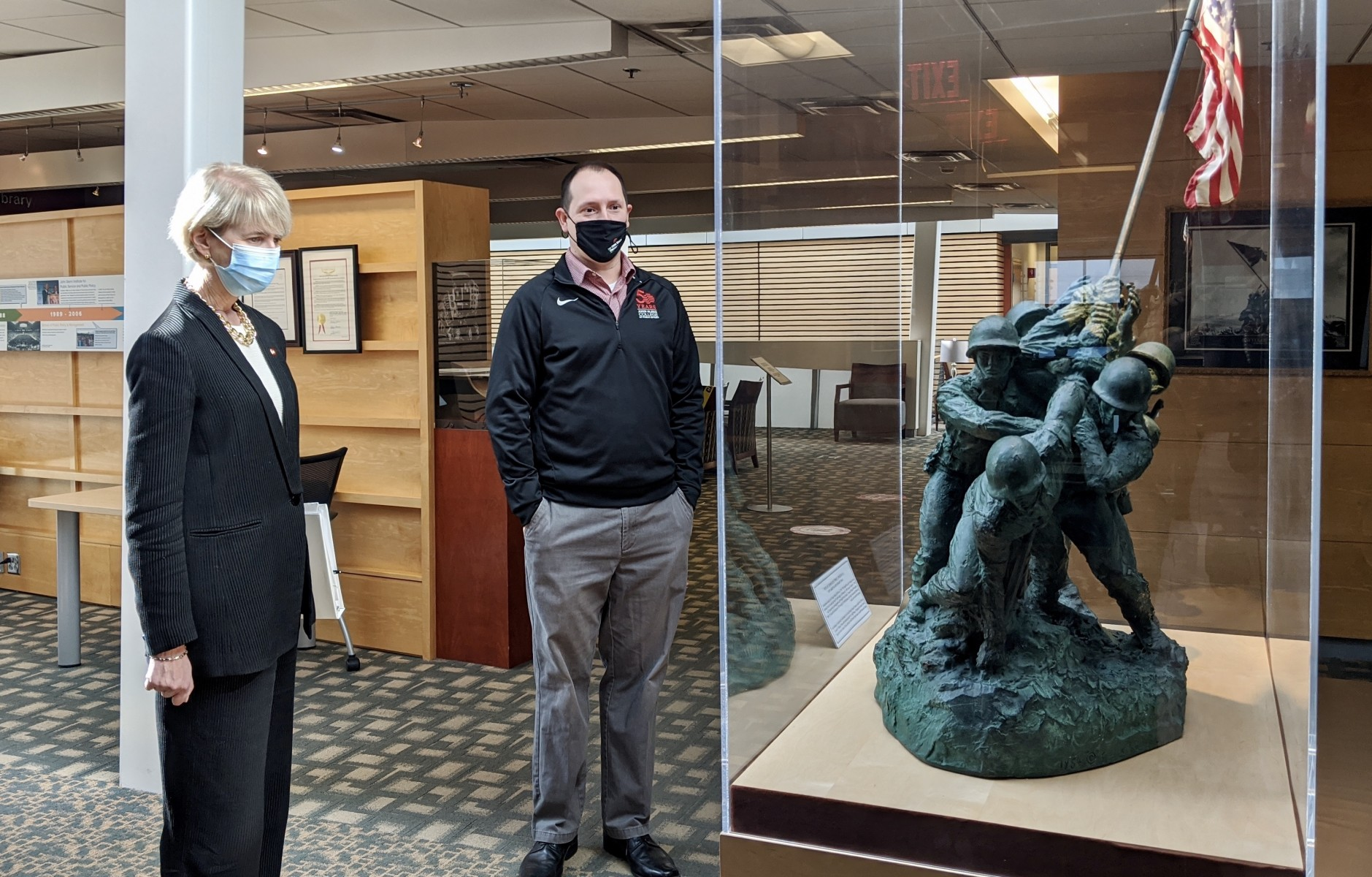 President Johnson is accompanied on her recent tour of Page Hall by Steve Fink, John Glenn College of Public Affairs admissions and scheduling coordinator.