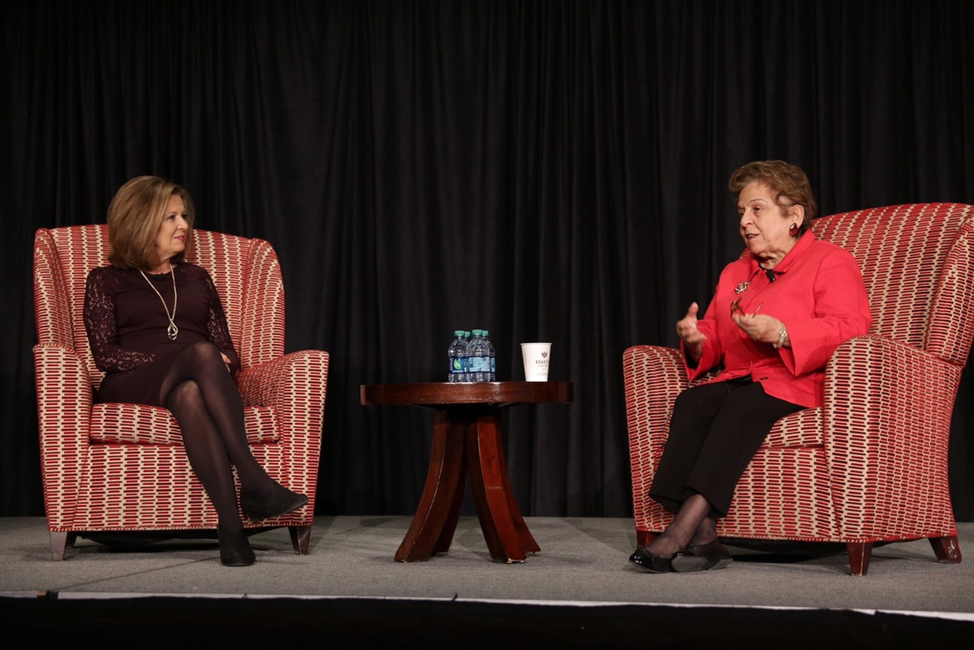 Colleen Marshall of NBC4 interviews Donna Shalala at the Community Engagement Conference. Photo: Kevin Fitzsimons