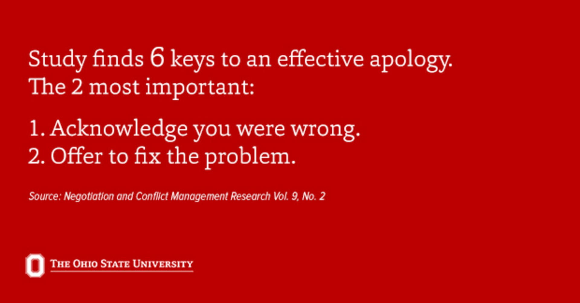 While the best apologies contained all six elements, not all of these components are equal, the study found.