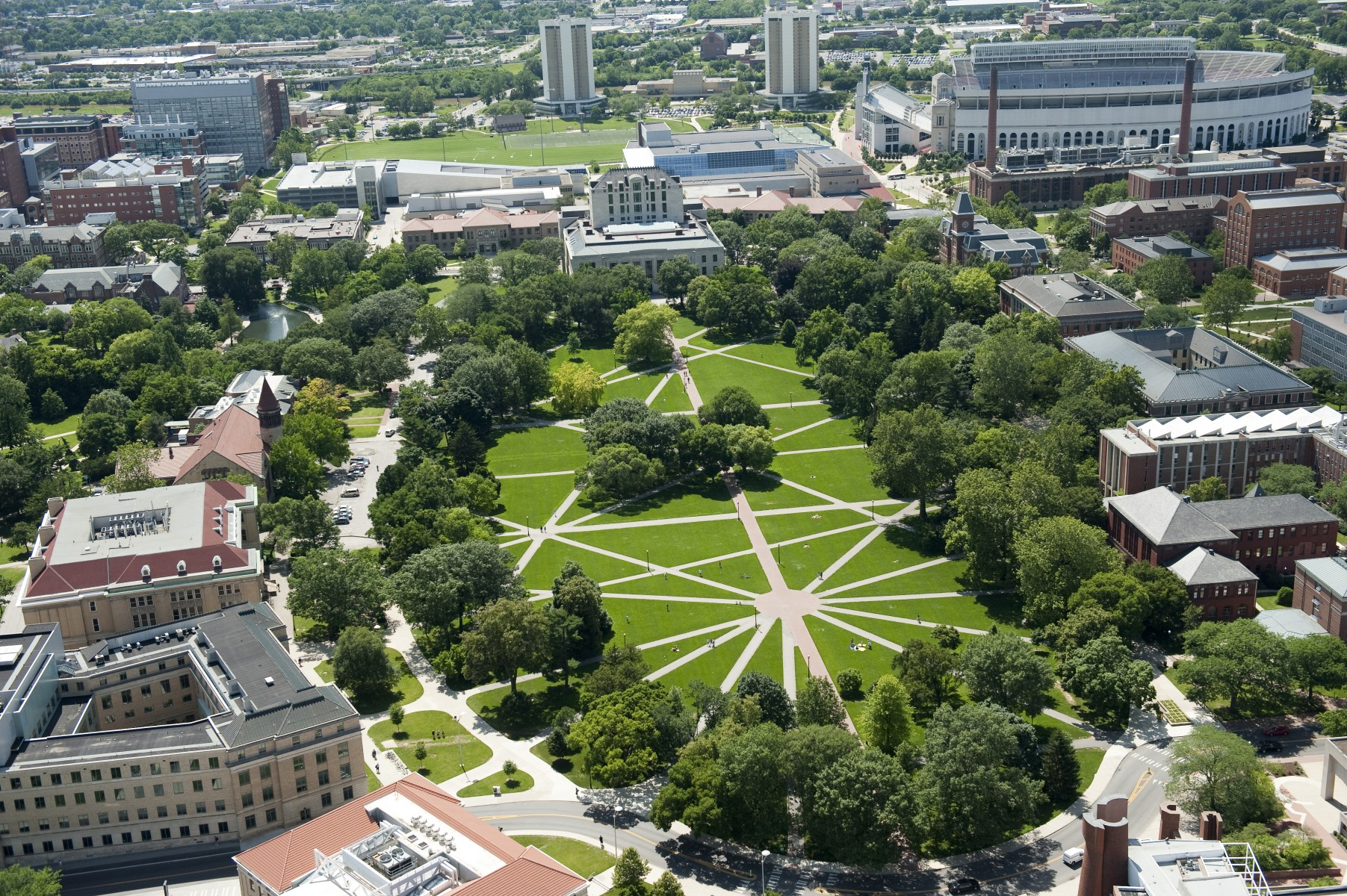 Aerial view of the Oval on the Columbus campus.