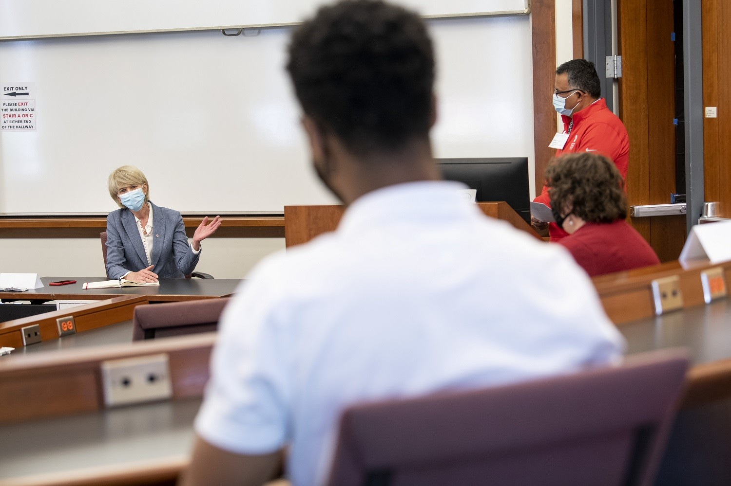 President Johnson visits with students at Fisher College of Business