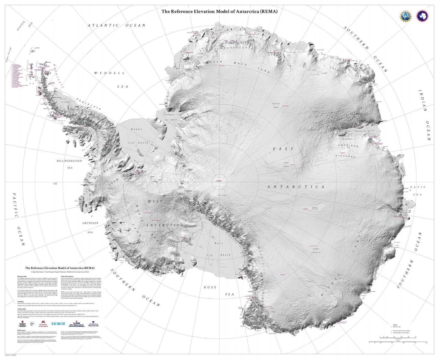 A terrain map that shows Antarctica in stunning detail