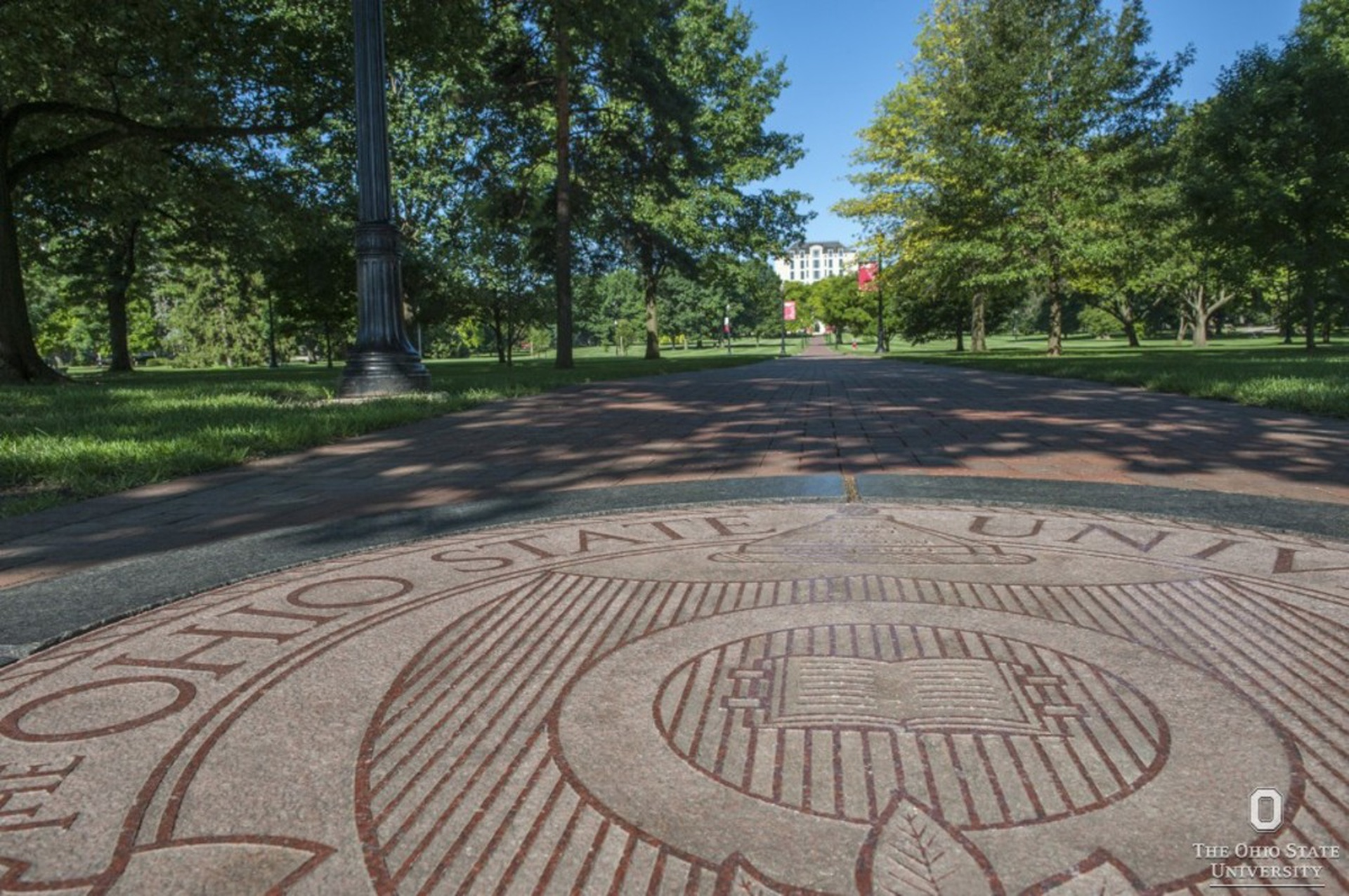 The seal of The Ohio State University on the Oval