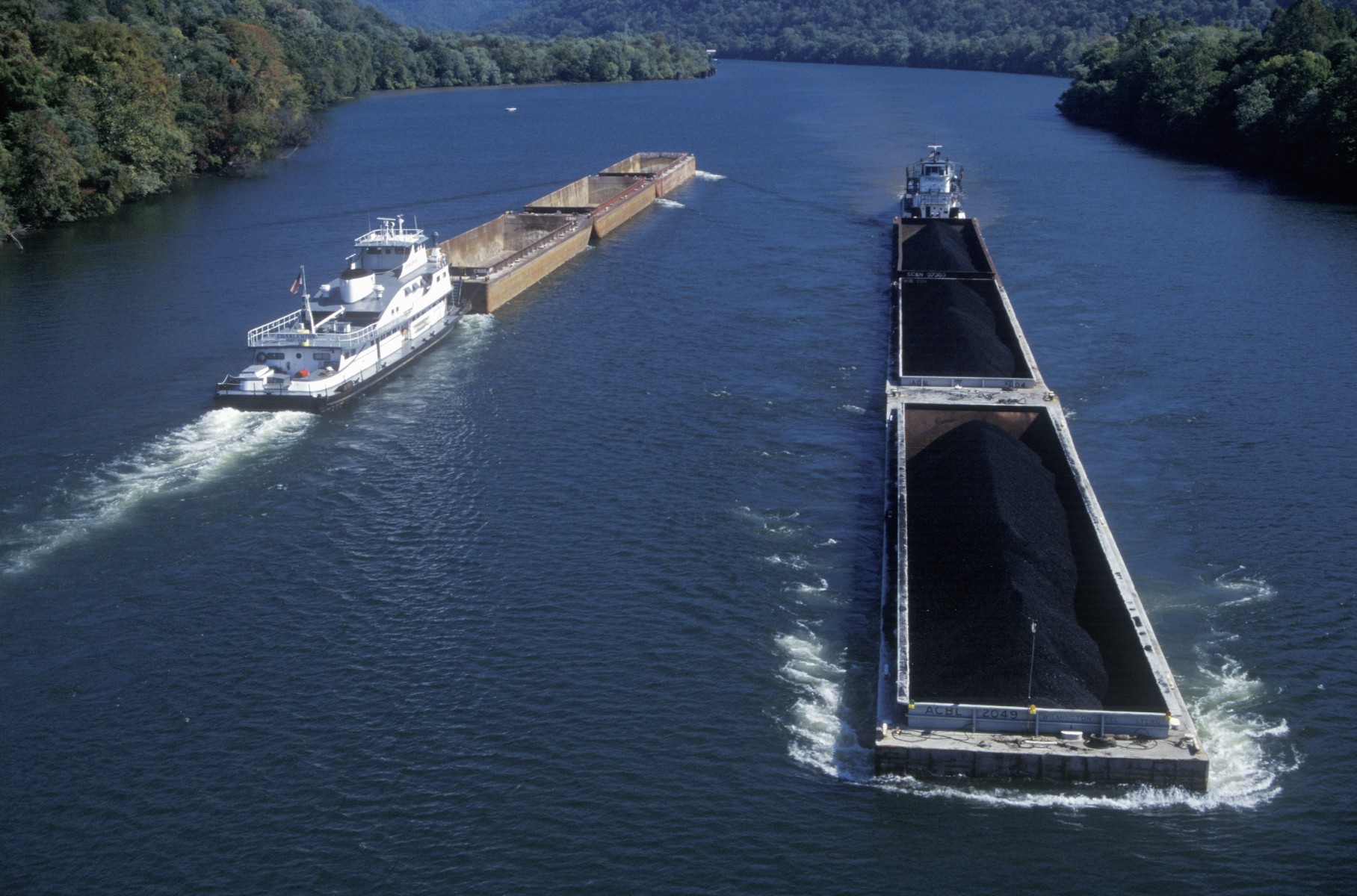 Coal barges on the Kanawha River in West Virginia