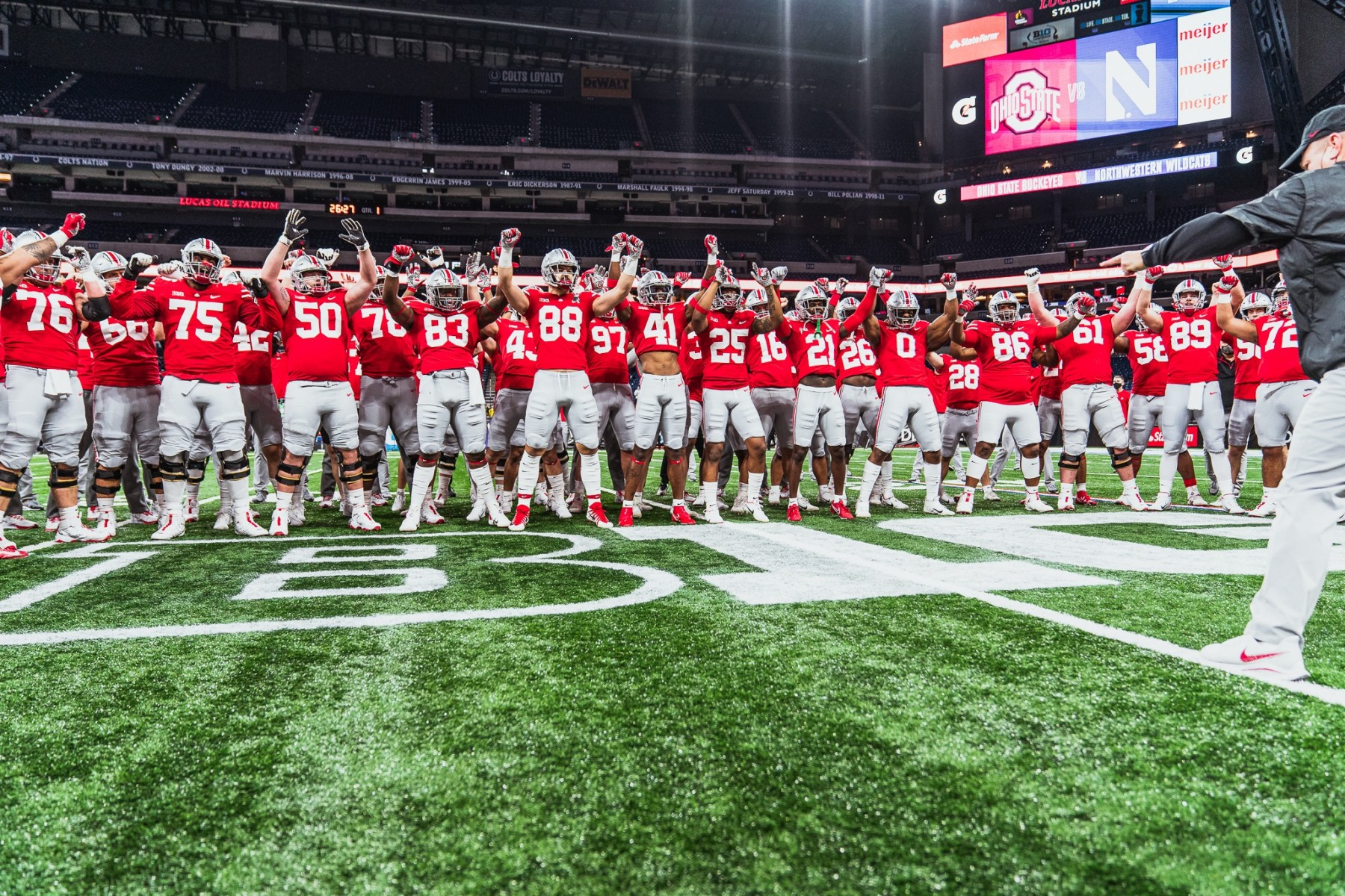 The Ohio State football team at the 2020 Big Ten Championship