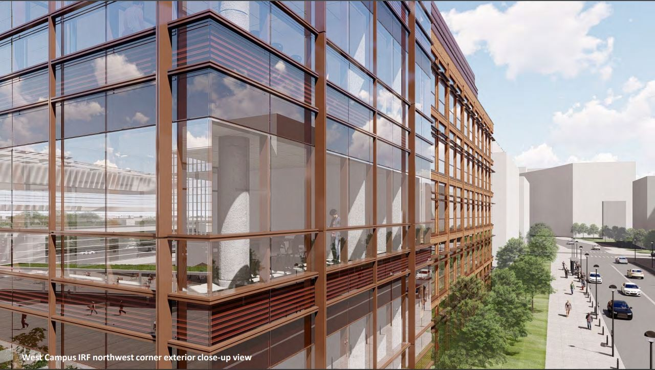 Proposed design of West Campus Innovation District  IRF Northwest corner exterior