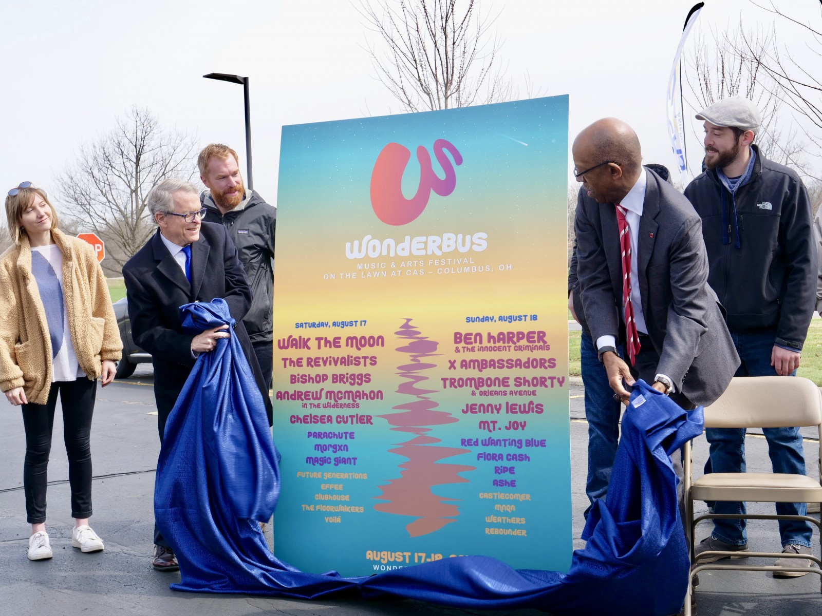 Gov. Mike DeWine and President Drake unveil the WonderBus lineup