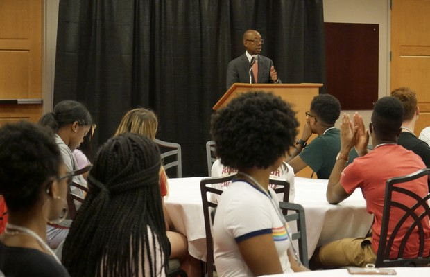 President Drake addresses Buckeye Student Leadership Academy participants