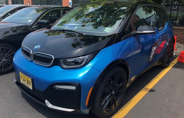 A BMW i3 was one of several electric cars at the Smart Columbus Ride and Drive event at Ohio State