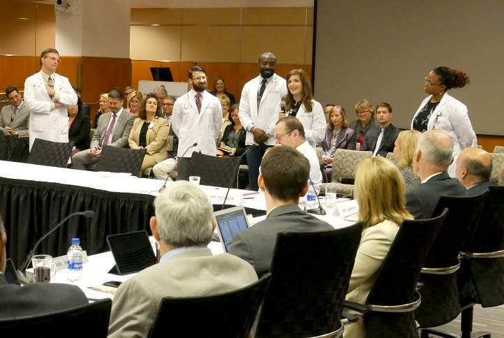 Students speak about the MEDPATH program to the Wexner Medical Center Board of Trustees