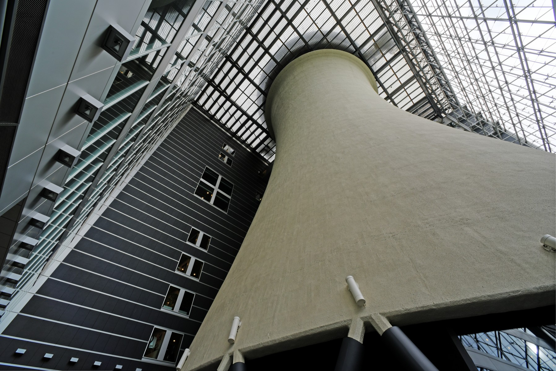 Cooling tower in Milan headquarters building