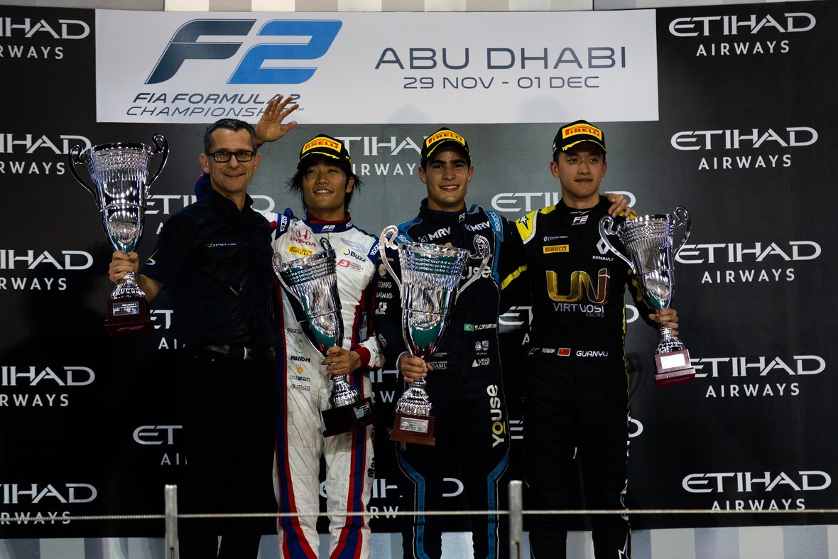 Sette Camara won the feature race, while Matsushita and Zhou used the alternative strategy to finish on the podium