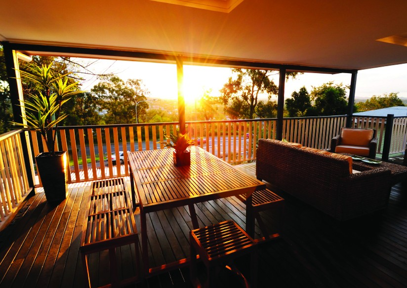 balcony of a family home in australia at sunset