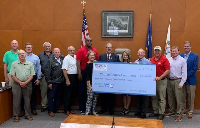 ESG joins Warren County Fiscal Court for Bowling Green Municipal Utilities and Tennessee Valley Authority Check Presentation