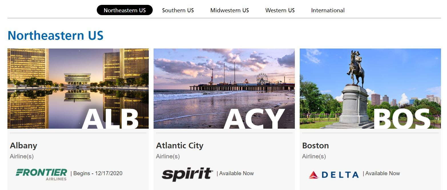 TPA nonstop destinations page