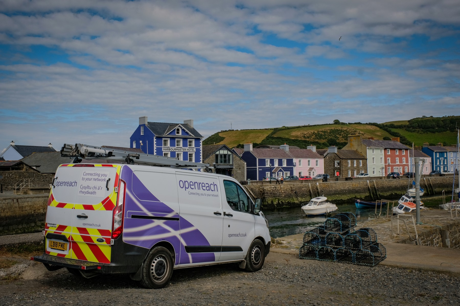 Openreach van close up Aberaeron