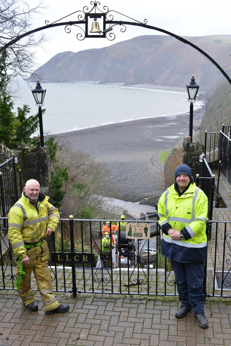 Ashley Clarke and Adrian Chamberlain at Lynton & Lynmouth Cliff Railway