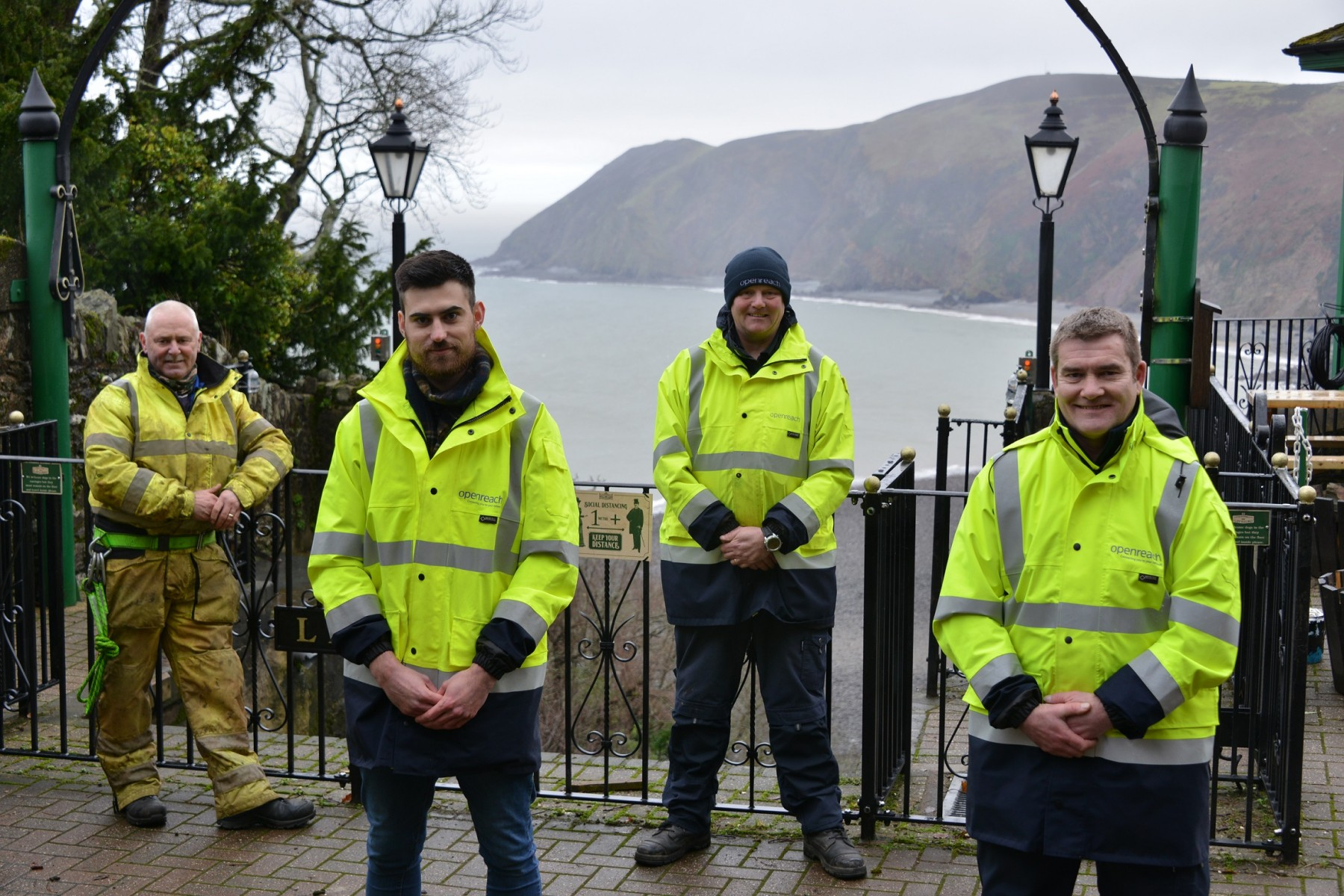 Openreach engineers and Ashley Clarke at Lynton & Lynmouth Cliff Railway