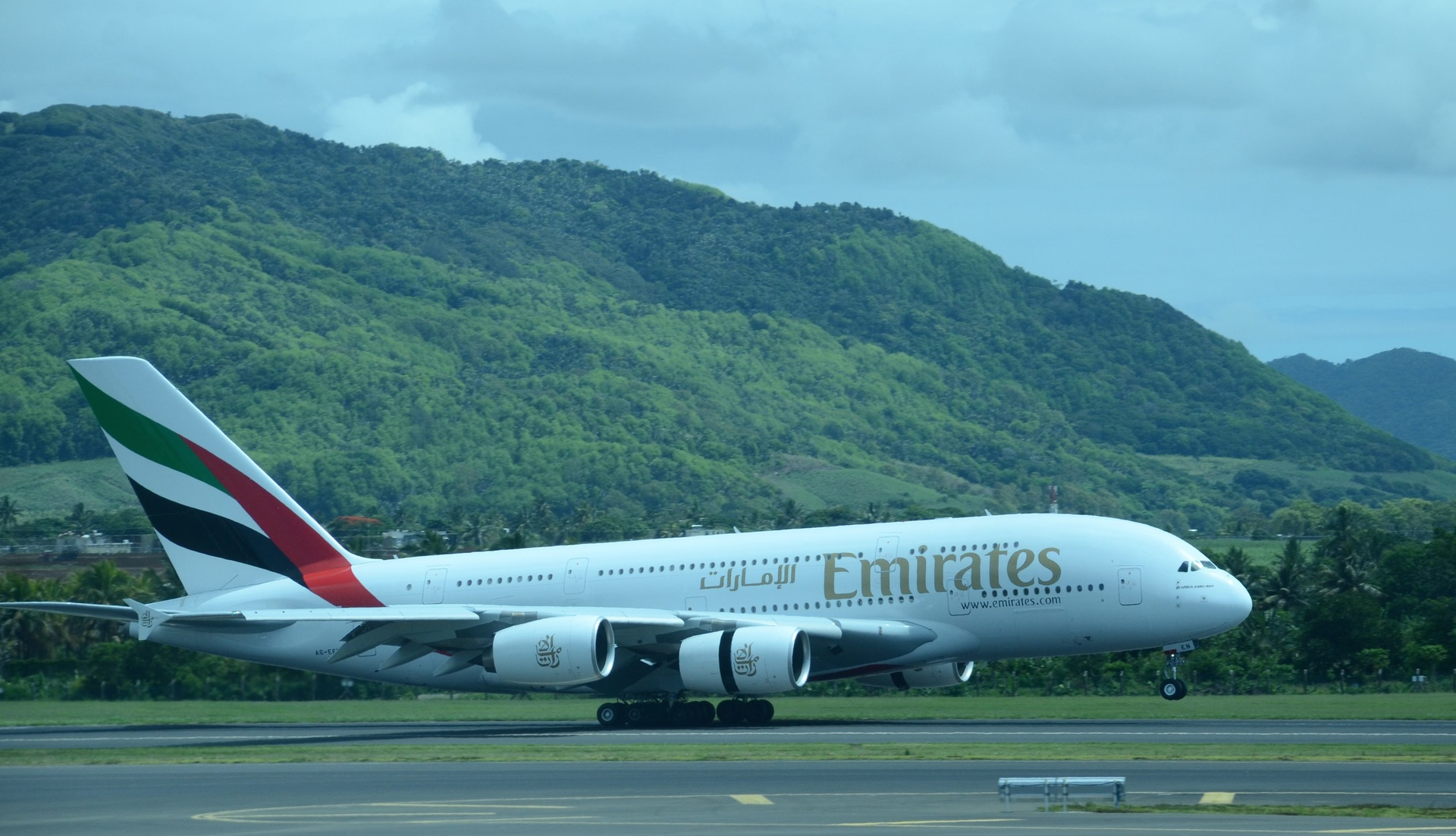 An Emirates A380 lands at Sir Seewoosagur Ramgoolam International Airport in Mauritius