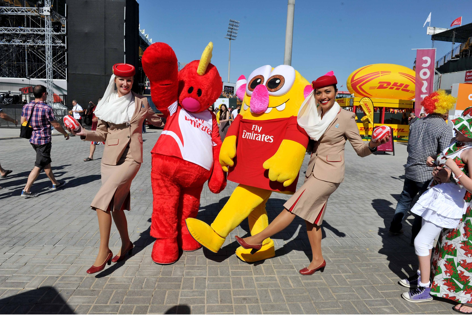 During the three-day rugby frenzy, Emirates cabin crew at the tournament will take pictures with fans and hand out on-board Fly with Me Monsters Tezz and Zaive to kids around the village.