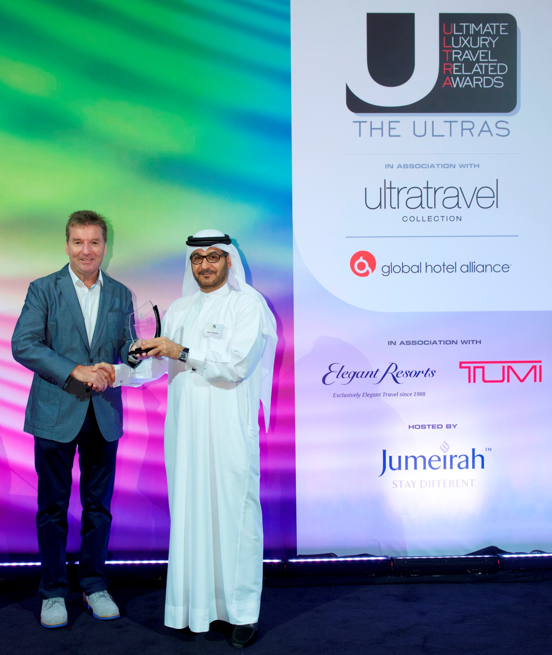 Adel Al Redha, Emirates' Executive Vice President and Chief Operations Officer collected the