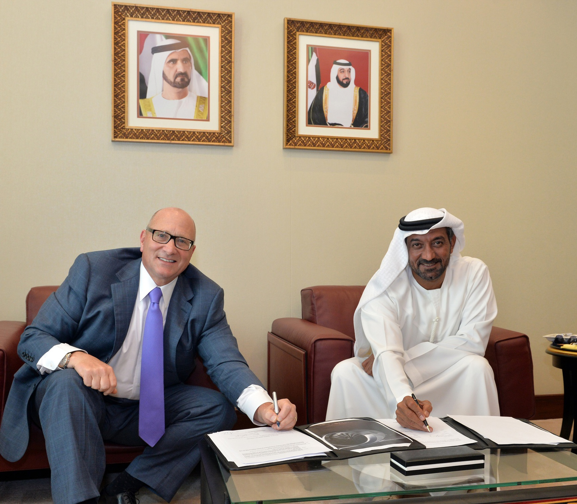 At the Dubai Air Show today, HH Sheikh Ahmed bin Saeed Al Maktoum, Chairman and Chief Executive, Emirates airline and Group (right), and David Joyce, President and Chief Executive Office for GE Aviation signed a US$16 billion agreement OnPoint solution agreement for the maintenance, repair and overhaul (MRO) of the GE9X engines that will power Emirates' fleet of 150 Boeing 777X aircraft over a period of 12 years. This is Emirates' largest engine MRO contract to date.