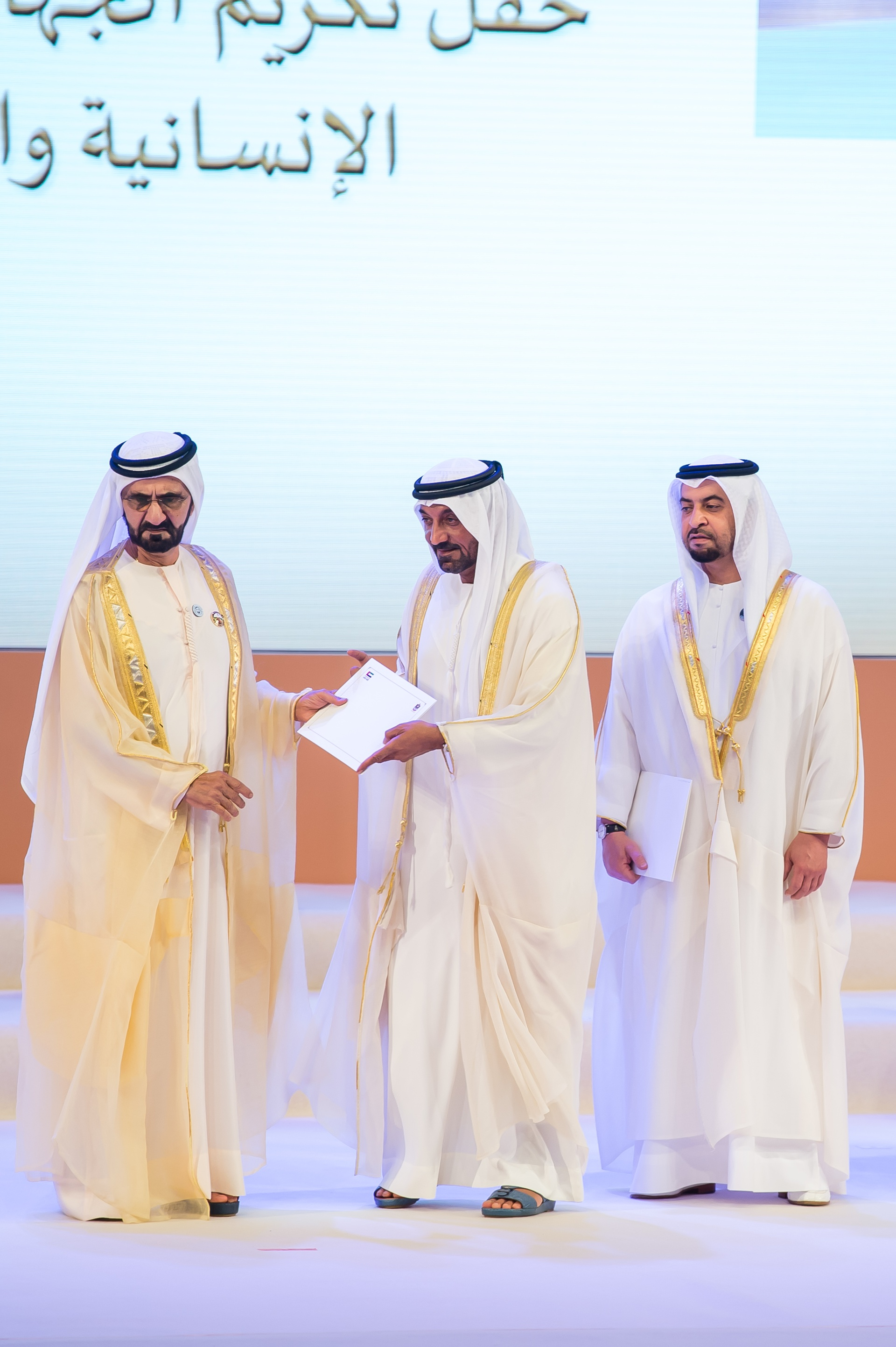 His Highness Sheikh Mohammed bin Rashid Al Maktoum, UAE Vice President, Prime Minister and Ruler of Dubai; presented the award to His Highness Sheikh Ahmed bin Saeed Al Maktoum, Chairman & Chief Executive, Emirates Airline & Group.