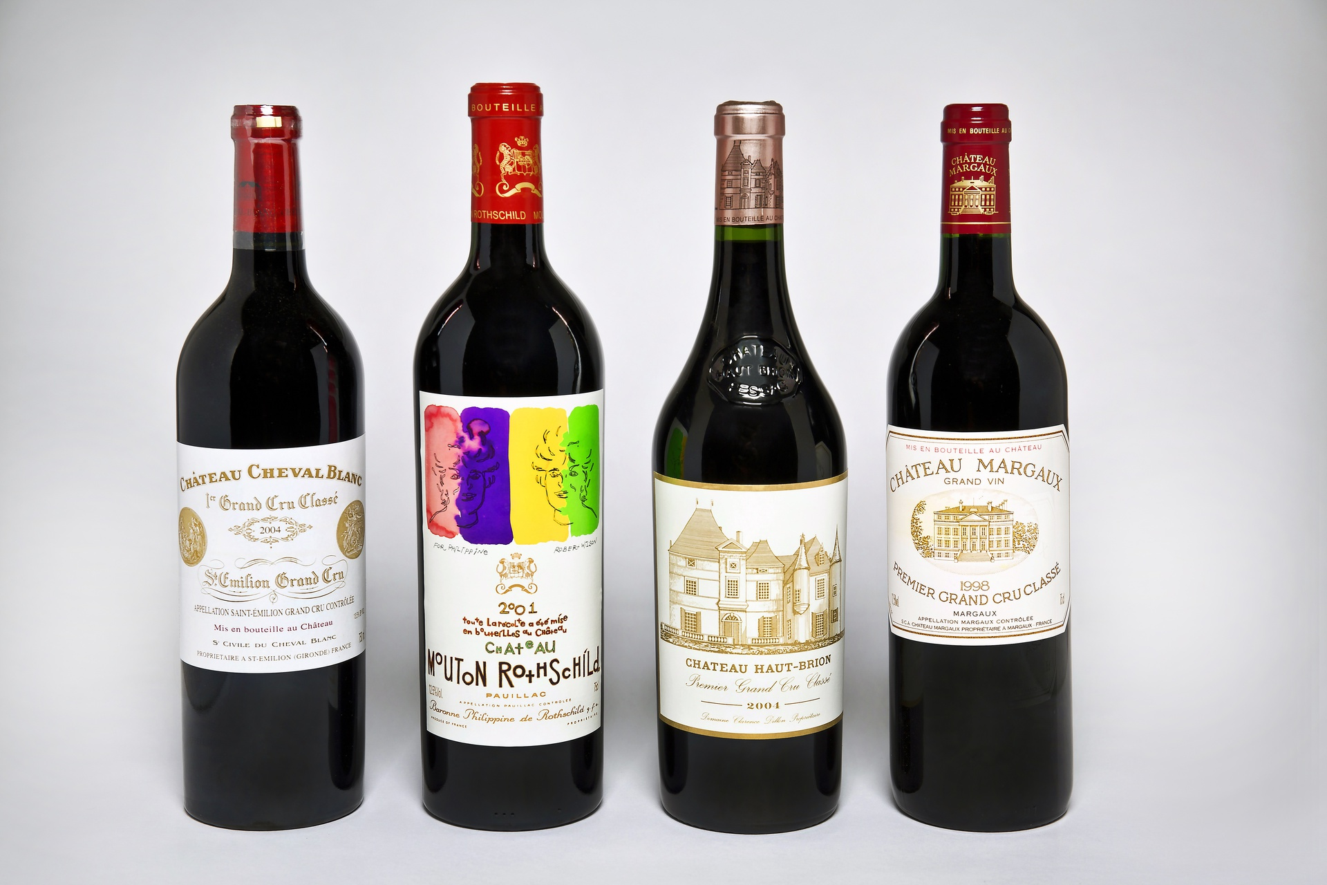 The Emirates Vintage Collection includes Château Cheval Blanc 2004, Château Haut Brion 2004, Château Mouton Rothschild 2001 and Château Margaux 1998