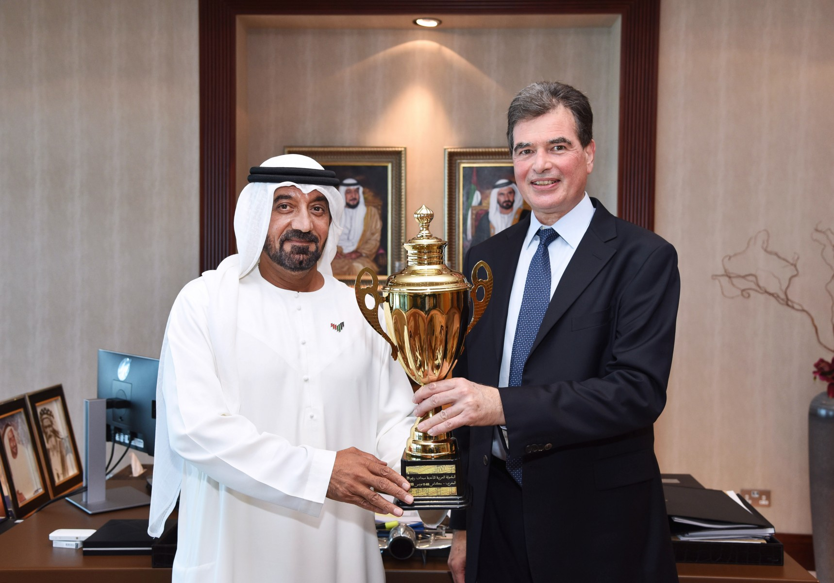 The Emirates Group Chairman & Chief Executive, His Highness Sheikh Ahmed bin Saeed Al Maktoum today received Nadim Hakim, Beirut Basketball Club President at the Group's headquarters.  During the visit, Hakim presented the Arab Women's Club Championship Trophy to His Highness Sheikh Ahmed.