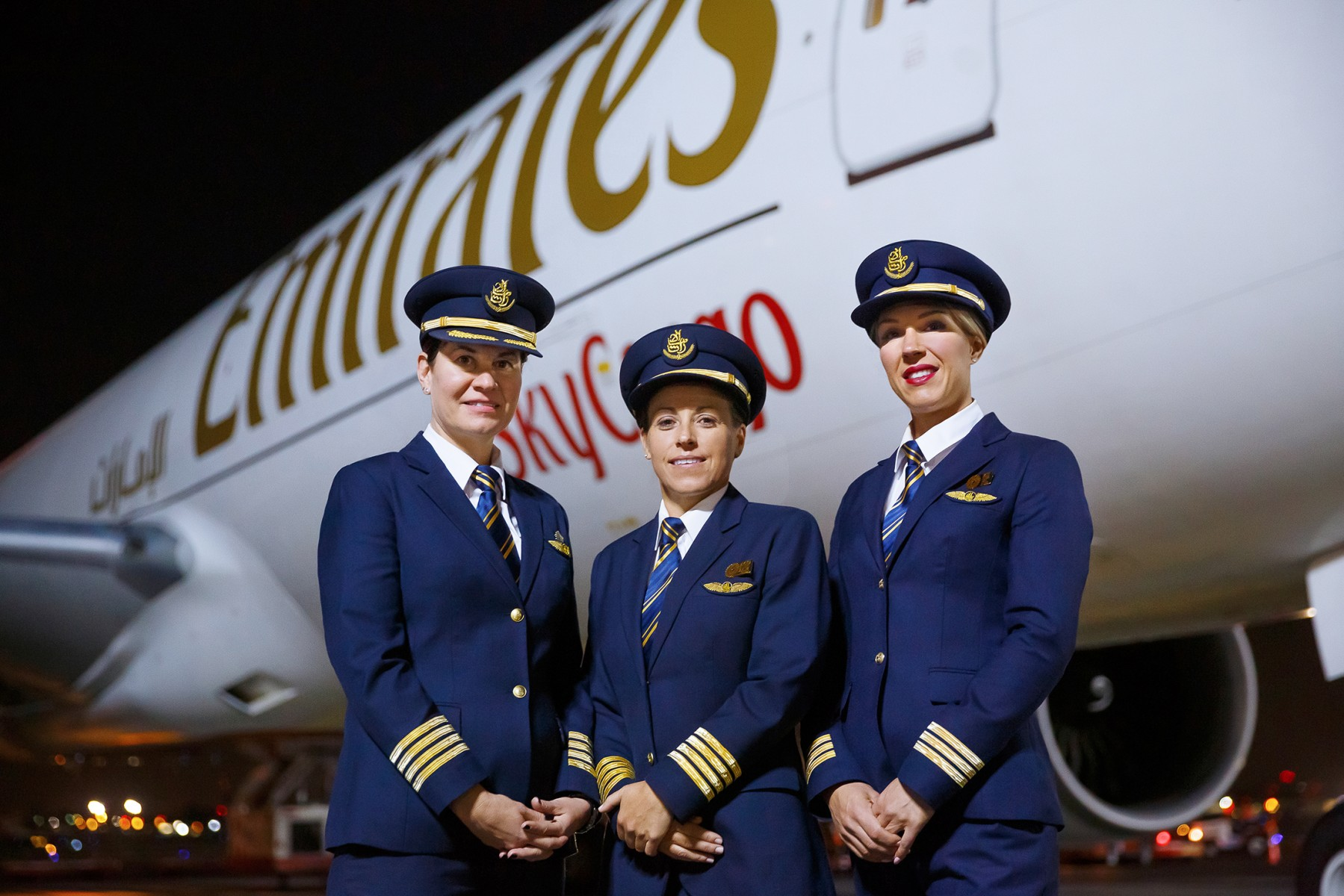 (L to R) Captain Heather Wolf from Canada, Captain Ellen Roz from the United States and First Officer Heidi McDiarmid from Australia pilot the all women Emirates freighter aircraft