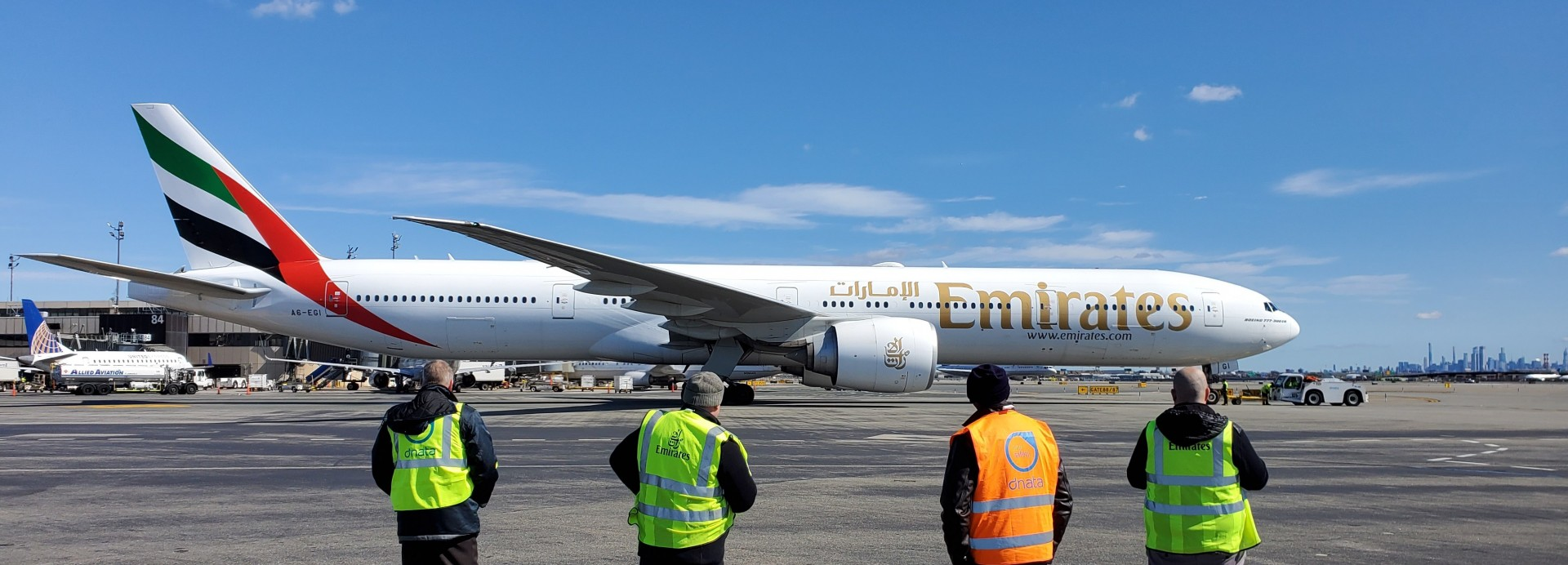 Emirates' outstation airport teams from Newark devotedly sent of their last passenger flights before the suspension took effect.