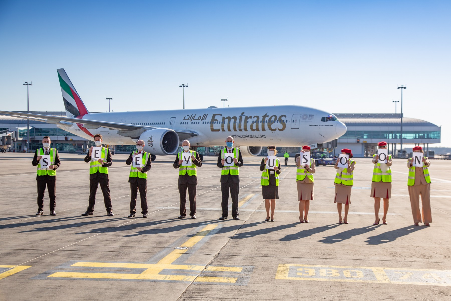 Emirates' outstation airport teams from Prague devotedly sent of their last passenger flights before the suspension took effect.