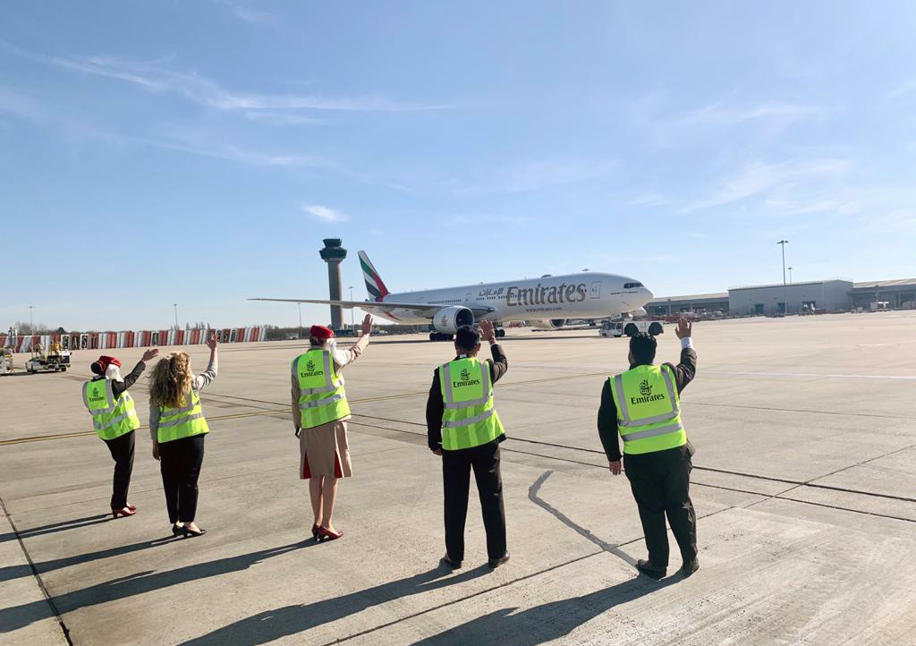 Emirates' outstation airport teams from London Stansted devotedly sent of their last passenger flights before the suspension took effect.