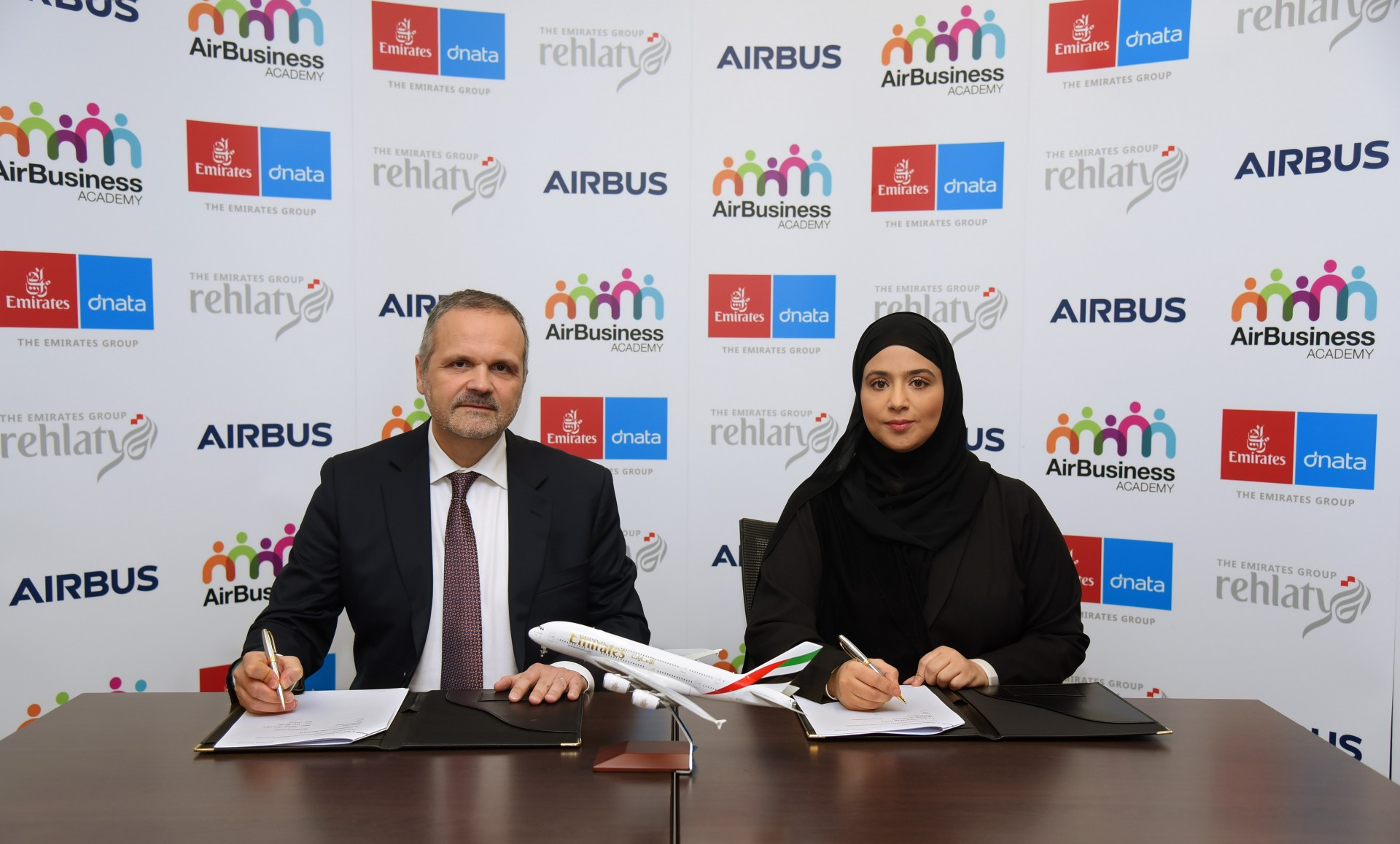 The Emirates Group partners with Airbus to provide leadership programmes for UAE Nationals.  The MoU was signed by Amira Al Falasi, Emirates' Vice President, HR Talent Acquisition and National Talent Development and Serge Golofier, Head of Sales & Marketing at AirBusiness Academy.