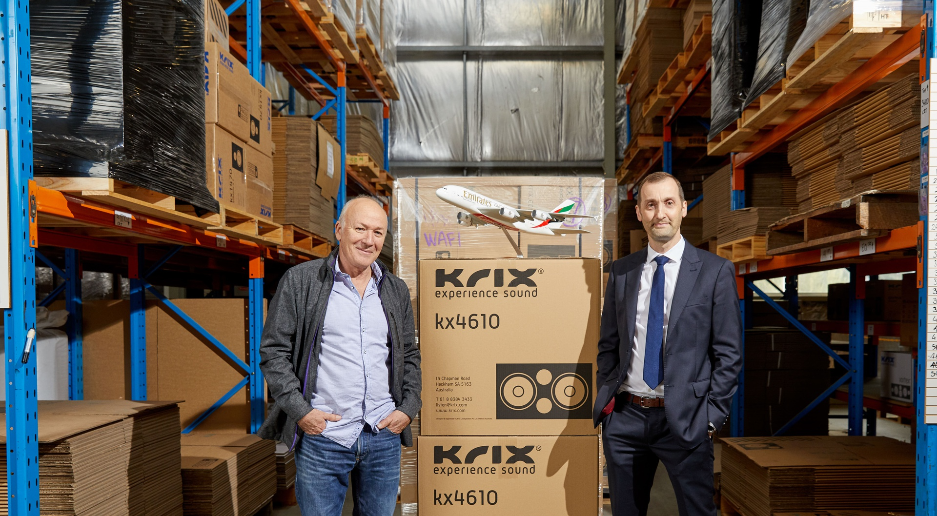 Ashley Krix, Commercial Cinema Sales Director, Krix Speakers (left) and Jason Brown, Adelaide Cargo Manager for Emirates SkyCargo (right). Emirates SkyCargo has helped Krix expand its overseas business.