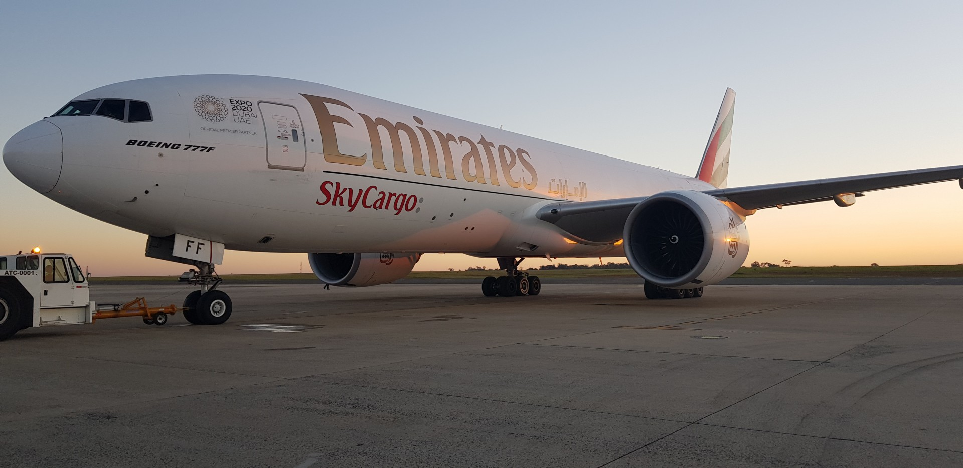 An Emirates SkyCargo Boeing 777 freighter with close to 100 tonnes of cargo capacity