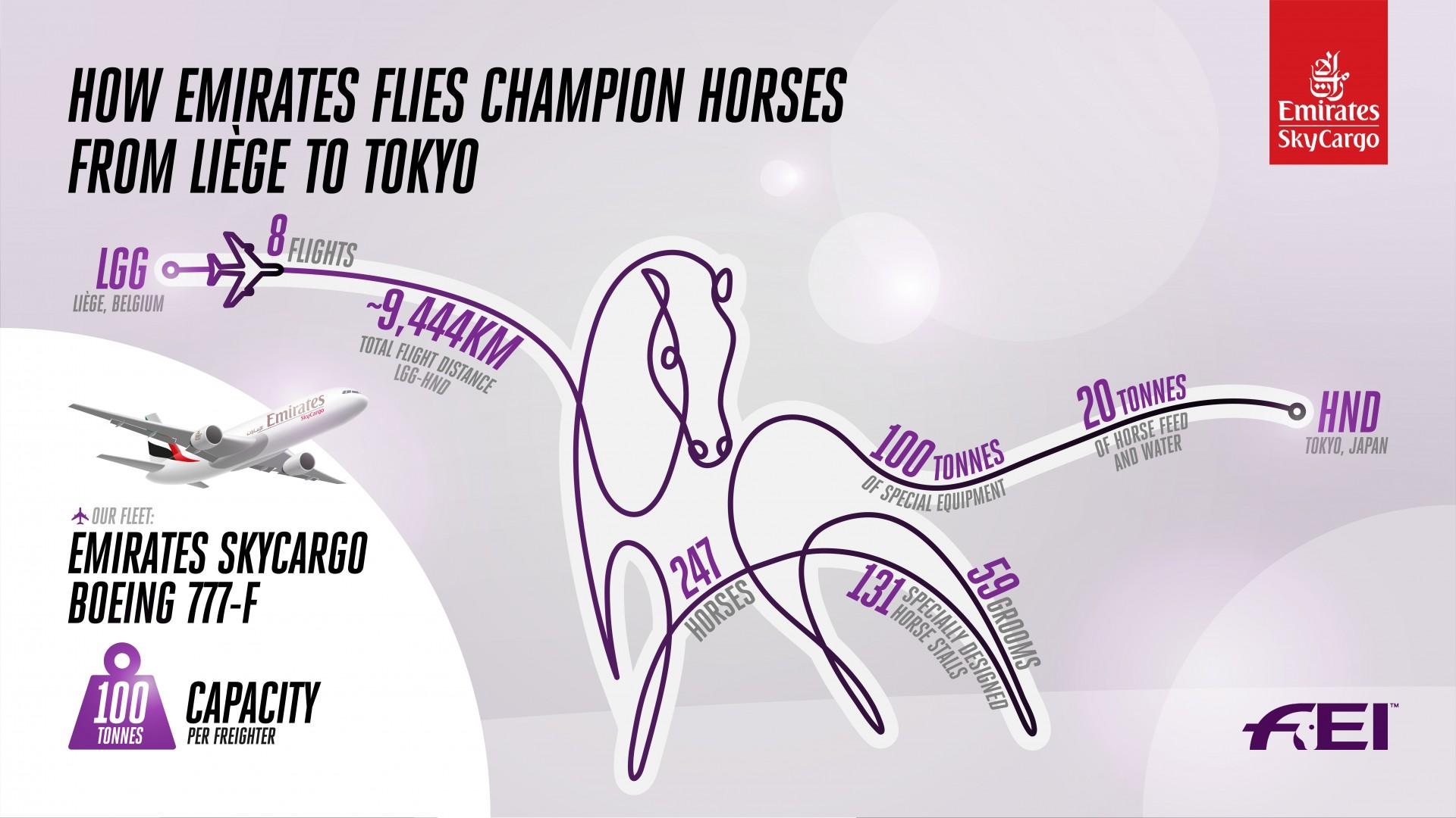 Emirates SkyCargo flies horses from Liege to Tokyo