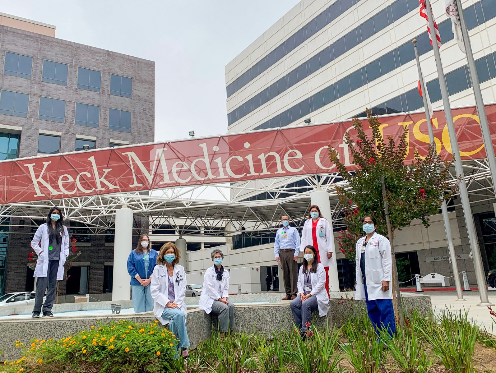 The Keck Medicine of USC lung transplant team that authored the study includes left to right: Jaynita Patel, MS,RD, Tammie Possemato, Felicia Schenkel, MSN, Roya Sadeghi, RN, Jeremy O'Conner, MSW, LCSW, Marian Duong, RD, Maria Bembi, RN, and Sivagini Ganesh, MD, MPH.  Not pictured: Mark L. Barr, MD