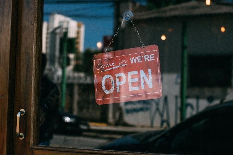 Open sign on business door