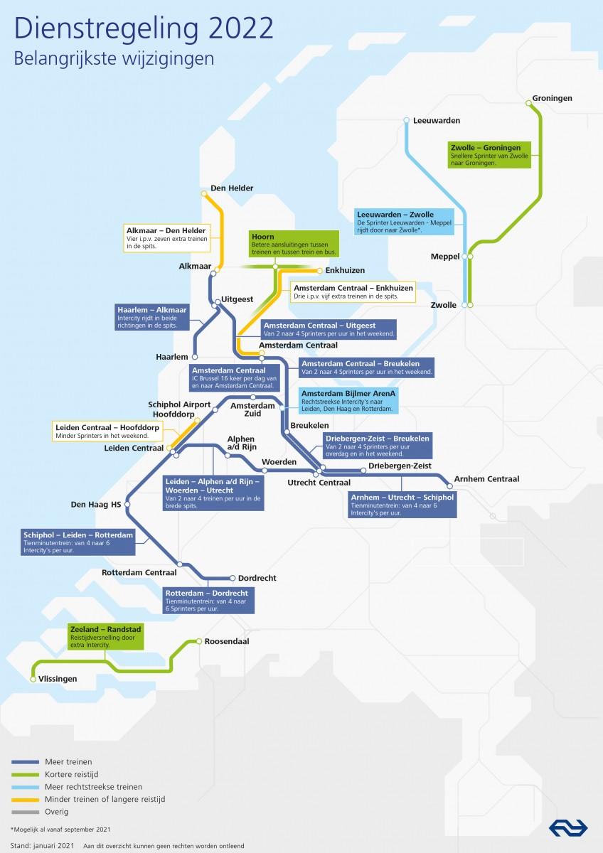 Kaart Dienstregeling 2022