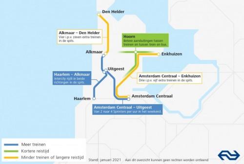 Kaart Dienstregeling 2022 Noord-Holland Noord
