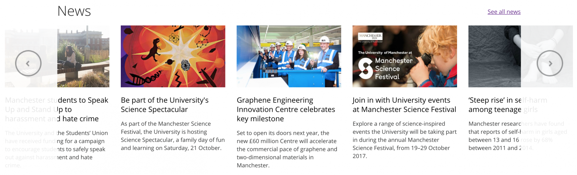 Homepage news feed University of Manchester
