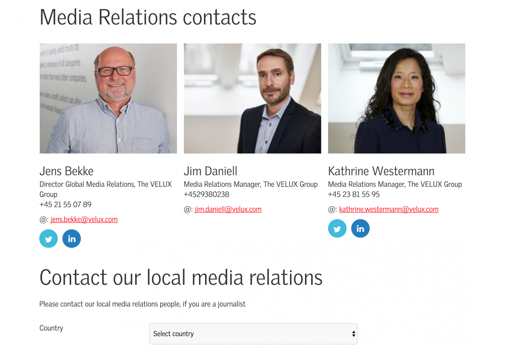 Velux showcases its main PR contacts and list of global media contacts.