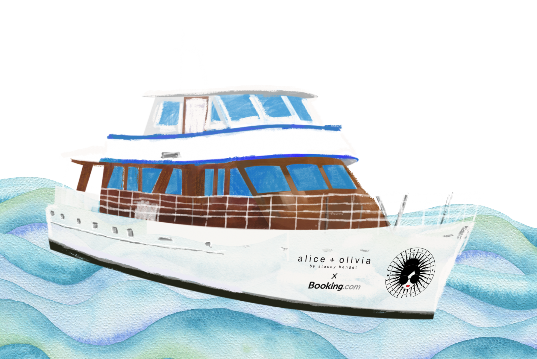 alice + olivia yacht illustration